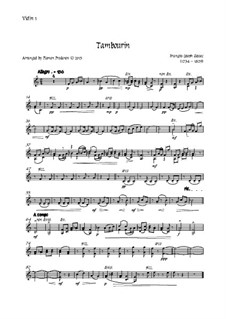 Tambourin in F Major: For flute and strings - violin 1 part by François Joseph Gossec