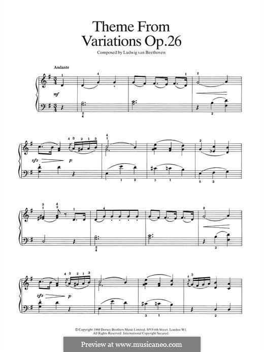 Sonata for Piano No.12 in A Flat Major, Op.26: Theme from Variations by Ludwig van Beethoven