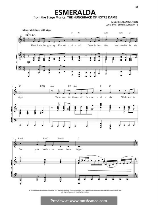 Esmeralda: Para vocais e piano by Alan Menken