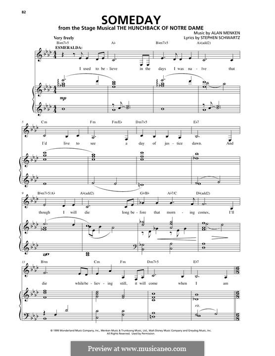 Someday (from Walt Disney's The Hunchback of Notre Dame): Para vocais e piano by Alan Menken