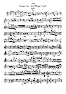 Sonata for Violin and Piano No.1 in F Major, Op.8: Parte de solo by Edvard Grieg