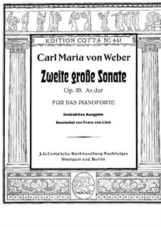 Sonata for Piano No.2 in A Flat Major, J.199 Op.39: For a single performer by Carl Maria von Weber