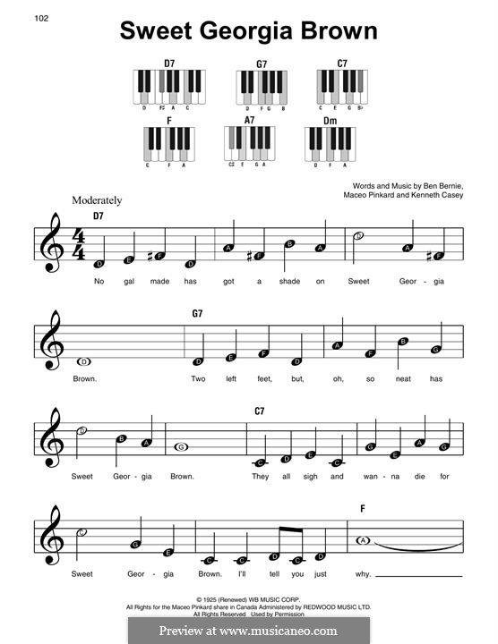 Sweet Georgia Brown: Para Piano by Maceo Pinkard, Kenneth Casey