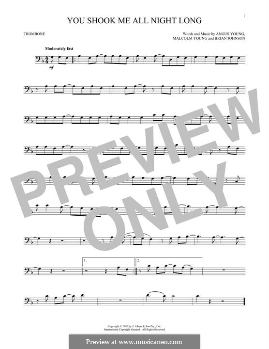 You Shook Me All Night Long (AC/DC): para trombone by Angus Young, Brian Johnson, Malcolm Young