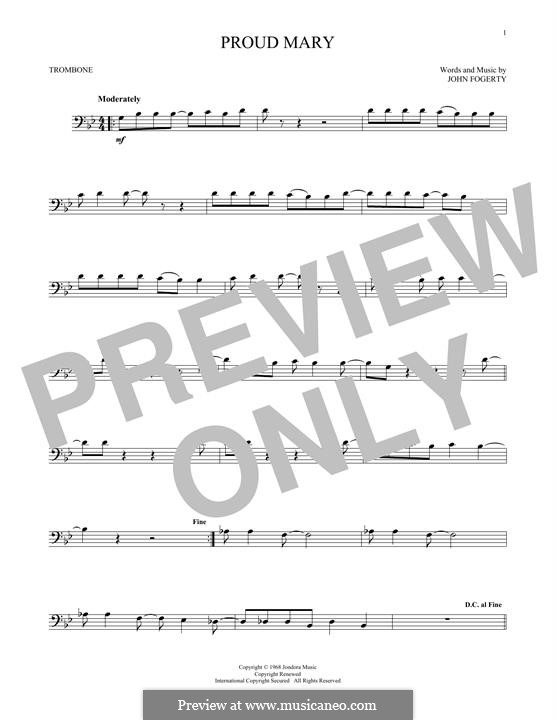 Proud Mary (Creedence Clearwater Revival): para trombone by John C. Fogerty