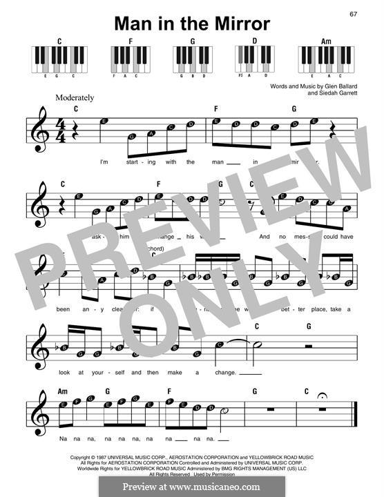 Man in the Mirror: Facil para o piano by Glen Ballard, Siedah Garrett