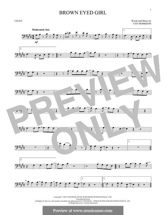 Brown Eyed Girl: para violoncelo by Van Morrison