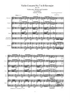 La Cetra (The Lyre). Twelve Violin Concertos, Op.9: No.7 Concerto in B Major – score and all parts, RV 359 by Antonio Vivaldi