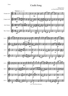 Cradle Song: For clarinet quartet (E flat, B flat, Alto and Bass) by William Byrd