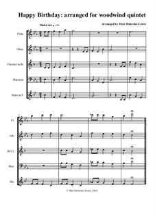 Happy Birthday to You: For woodwind quintet by Mildred Hill