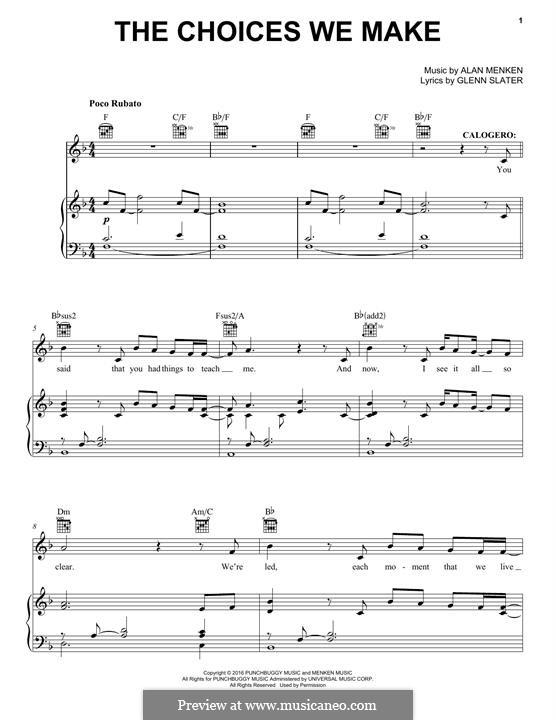 The Choices We Make: Para vocais e piano (ou Guitarra) by Alan Menken