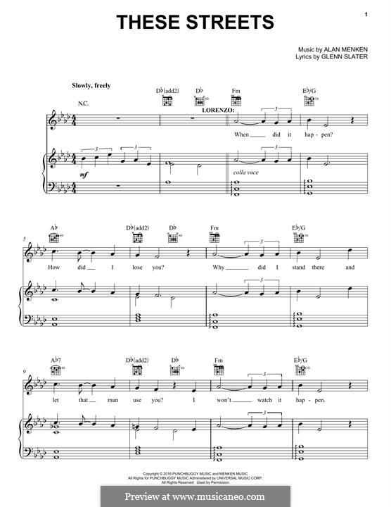 These Streets: Para vocais e piano (ou Guitarra) by Alan Menken