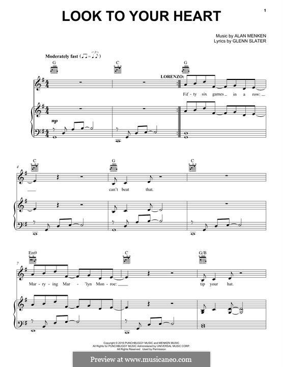 Look To Your Heart: Para vocais e piano (ou Guitarra) by Alan Menken