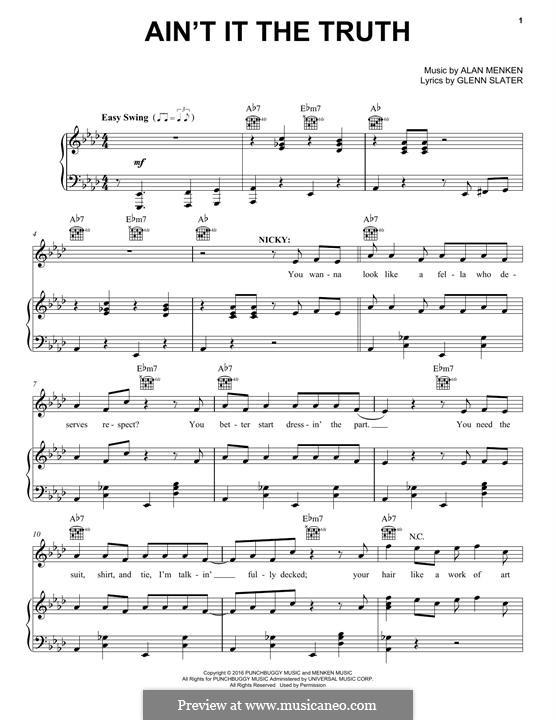Ain't it the Truth: Para vocais e piano (ou Guitarra) by Alan Menken