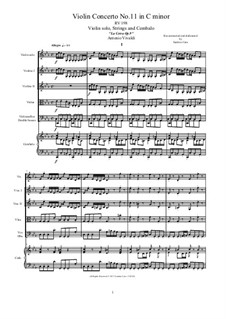 La Cetra (The Lyre). Twelve Violin Concertos, Op.9: No.11 Concerto in C Minor – score and all parts, RV 198 by Antonio Vivaldi