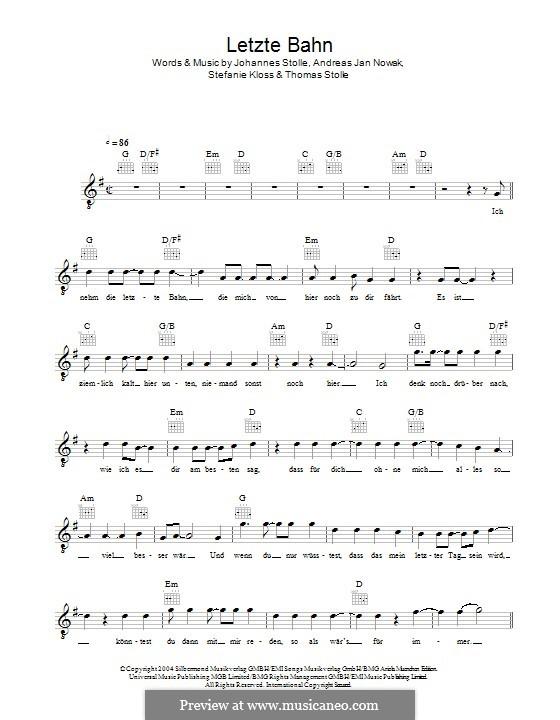 Letzte Bahn (Silbermond): melodia by Johannes Stolle, Thomas Stolle, Andreas Jan Nowak, Stefanie Kloss