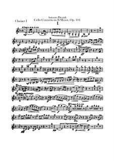 Concerto for Cello and Orchestra in B Minor, B.191 Op.104: parte clarinetas by Antonín Dvořák