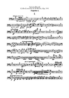 Concerto for Cello and Orchestra in B Minor, B.191 Op.104: parte fagotes by Antonín Dvořák