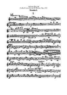 Concerto for Cello and Orchestra in B Minor, B.191 Op.104: parte trompeta by Antonín Dvořák