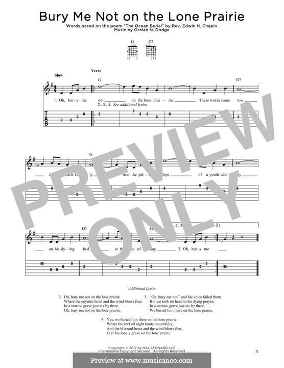 Bury Me Not on the Lone Prairie: Para Guitarra by Ossian N. Dodge
