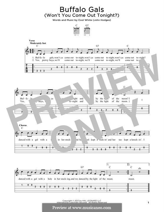 Buffalo Gals: Para Guitarra by John Hodges