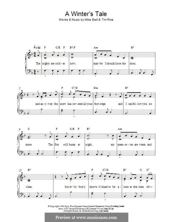 A Winter's Tale (David Essex): Para Piano by Mike Batt