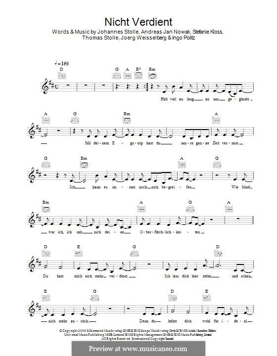 Nicht Verdient (Silbermond): melodia by Johannes Stolle, Thomas Stolle, Andreas Jan Nowak, Stefanie Kloss, Joerg Weisselberg