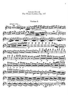 Vodník (The Water Goblin), B.195 Op.107: violino parte I by Antonín Dvořák