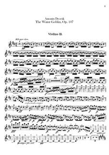 Vodník (The Water Goblin), B.195 Op.107: violino parte II by Antonín Dvořák