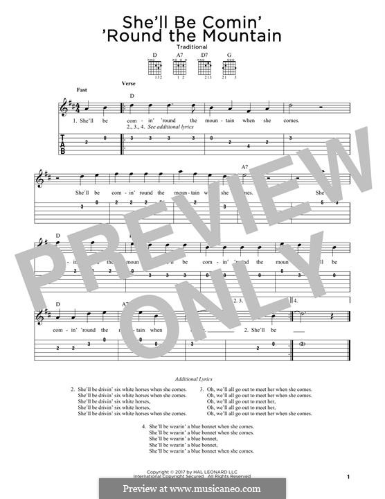 She'll Be Comin' 'Round the Mountain: Para Guitarra by folklore