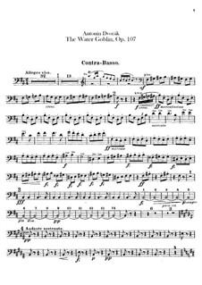 Vodník (The Water Goblin), B.195 Op.107: Parte contrabaixo by Antonín Dvořák