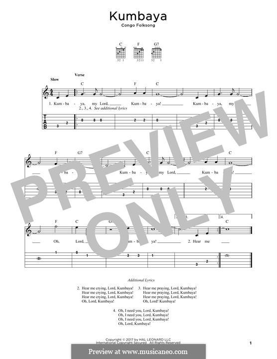 Kumbaya (Kum Ba Yah): Para Guitarra by folklore