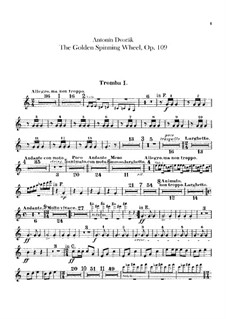 Zlatý kolovrat (The Golden Spinning Wheel), B.197 Op.109: parte trompetas by Antonín Dvořák