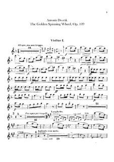 Zlatý kolovrat (The Golden Spinning Wheel), B.197 Op.109: violino parte I by Antonín Dvořák