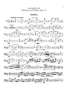 Romance in F Minor, B.39 Op.11: Bassons parts by Antonín Dvořák