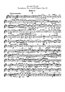 Symphony No.6 in D Major, B.112 Op.60: parte de oboes by Antonín Dvořák