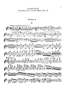 Symphony No.6 in D Major, B.112 Op.60: violino parte I by Antonín Dvořák