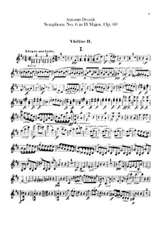 Symphony No.6 in D Major, B.112 Op.60: violino parte II by Antonín Dvořák
