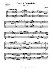 Concerto Grosso No.2 in F Major, HWV 320: partes by Georg Friedrich Händel