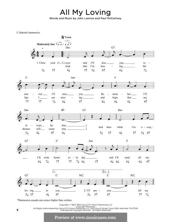 All My Loving (The Beatles): For harmonica by John Lennon, Paul McCartney