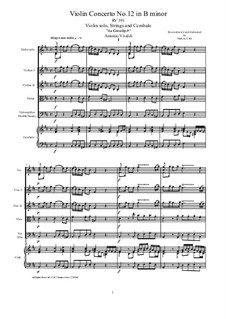 La Cetra (The Lyre). Twelve Violin Concertos, Op.9: No.12 Concerto in B minor – score, parts, RV 391 by Antonio Vivaldi