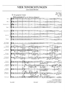 Four Tone Poems after Arnold Böcklin for Orchestra, Op.128: Partitura completa by Max Reger