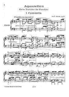 Aquarellen for Piano, Op.25: Aquarellen for Piano by Max Reger