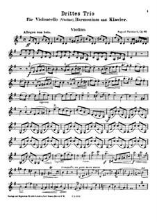 Trio No.3 for Cello (or Violin), Harmonium and Piano, Op.46: parte do violino by August Reinhard