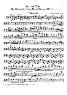 Trio No.3 for Cello (or Violin), Harmonium and Piano, Op.46: parte violoncelo by August Reinhard
