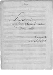 Six Sonatas for Two Flutes or Violins and Cello, WK 80-85 Op.3: Six Sonatas for Two Flutes or Violins and Cello by Carl Friedrich Abel