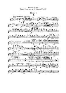 Concerto for Piano and Orchestra in G Minor, B.63 Op.33: parte de flautas by Antonín Dvořák