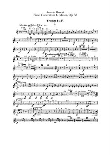 Concerto for Piano and Orchestra in G Minor, B.63 Op.33: parte trompetas by Antonín Dvořák