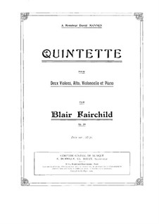 Piano Quintet in D Minor, Op.20: Partitura completa by Blair Fairchild