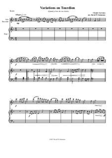 Tourdion (Quand je bois du vin clairet): For alto recorder and harp by Claude Gervaise